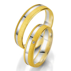 Breuning Smart Line 7051-7052 Gold Bicolor Wedding Rings - Goldy Jewelry Store