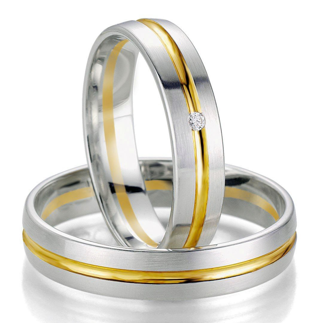 Breuning Smart Line 7055-7056 Gold Bicolor Wedding Rings - Goldy Jewelry Store
