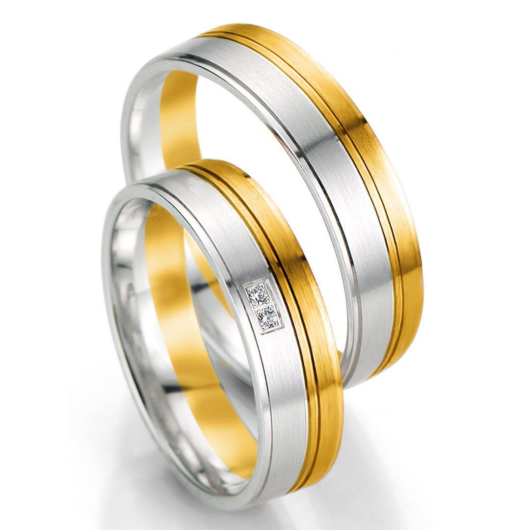 Breuning Smart Line 7063-7064 Gold Bicolor Wedding Rings - Goldy Jewelry Store