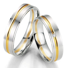 Breuning Smart Line 7067-7068 Gold Bicolor Wedding Rings - Goldy Jewelry Store