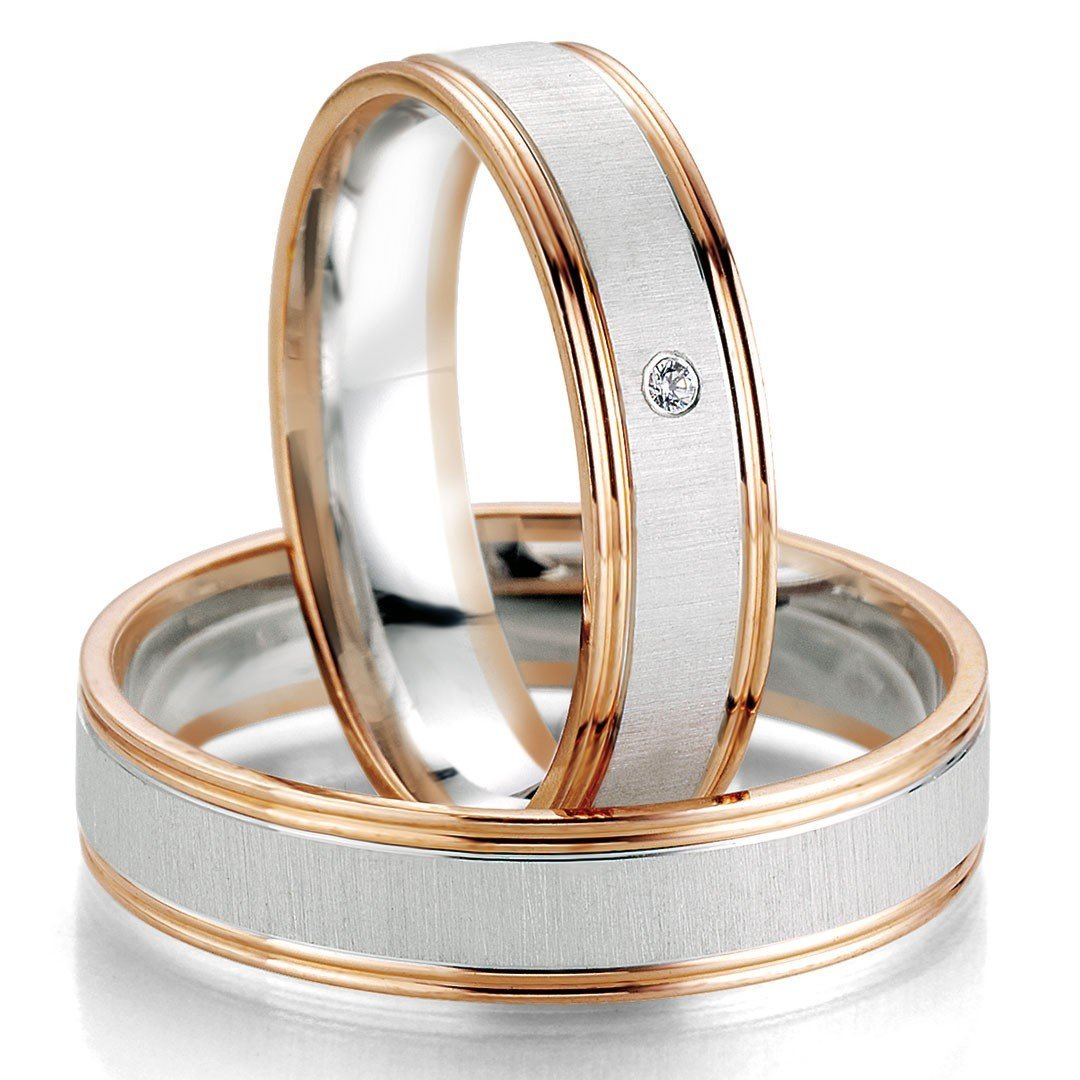 Breuning Smart Line 7071-7072 Gold Bicolor Wedding Rings - Goldy Jewelry Store