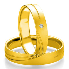 Breuning Smart Line Added Lines 7075-7076 White Gold Wedding Rings - Goldy Jewelry