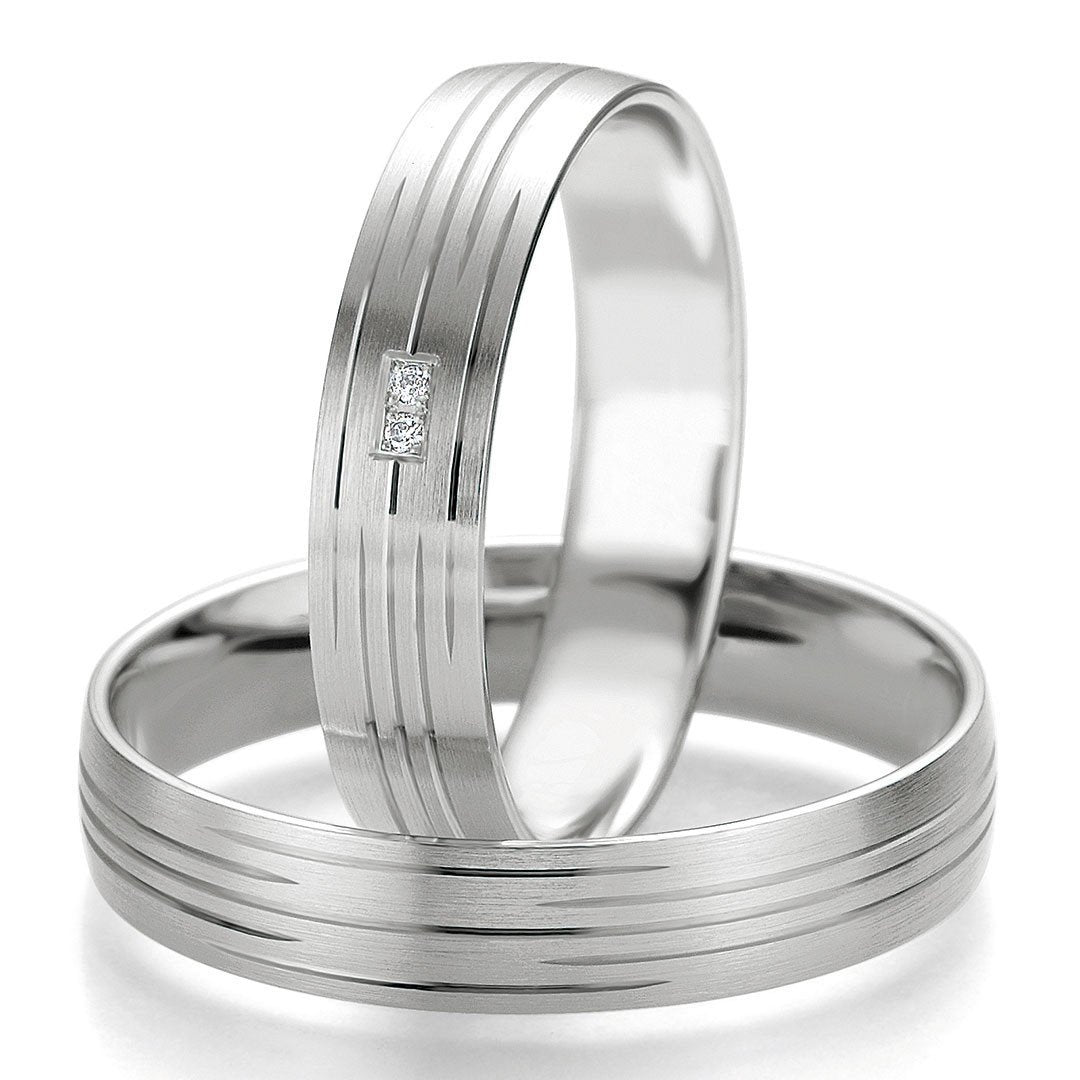 Breuning Smart Line Added Lines 7077-7078 White Gold Wedding Rings - Goldy Jewelry