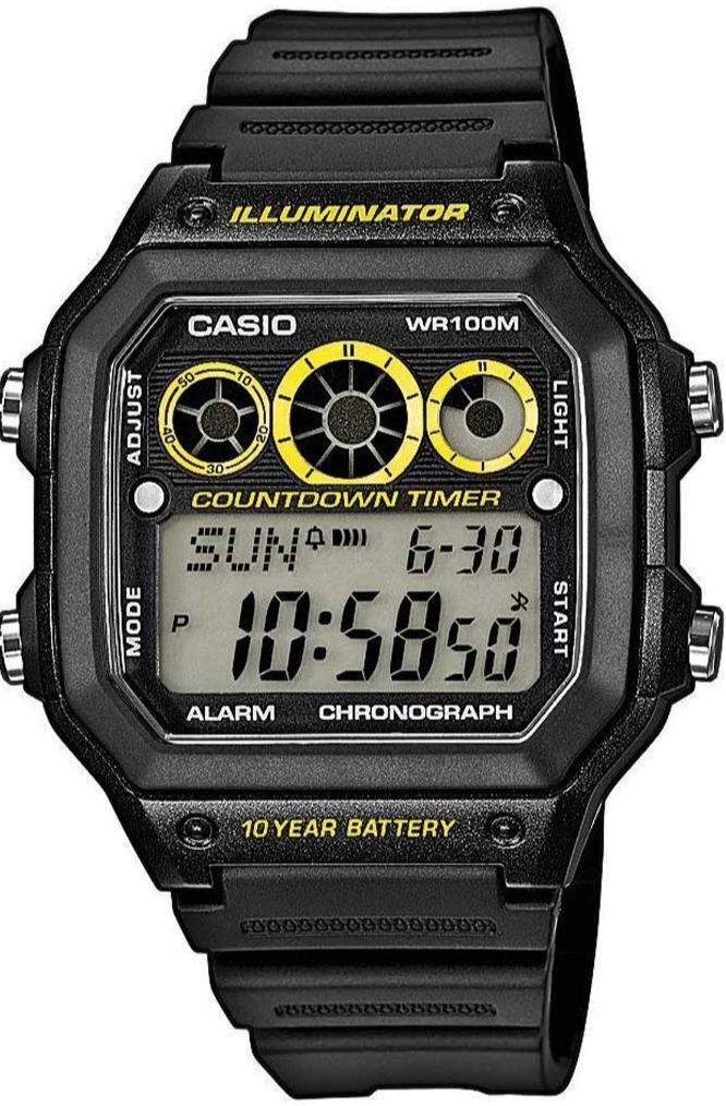 CASIO AE-1300WH-1AVEF Youth Digital Black Rubber Strap - Goldy Jewelry Store