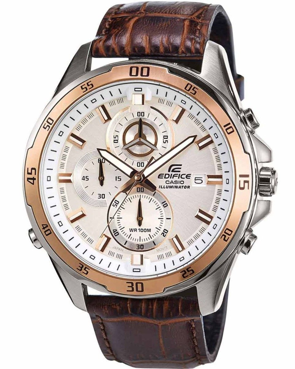 Casio EFR-547L-7AVUEF Edifice Chronograph Brown Leather Strap - Κοσμηματοπωλείο Goldy