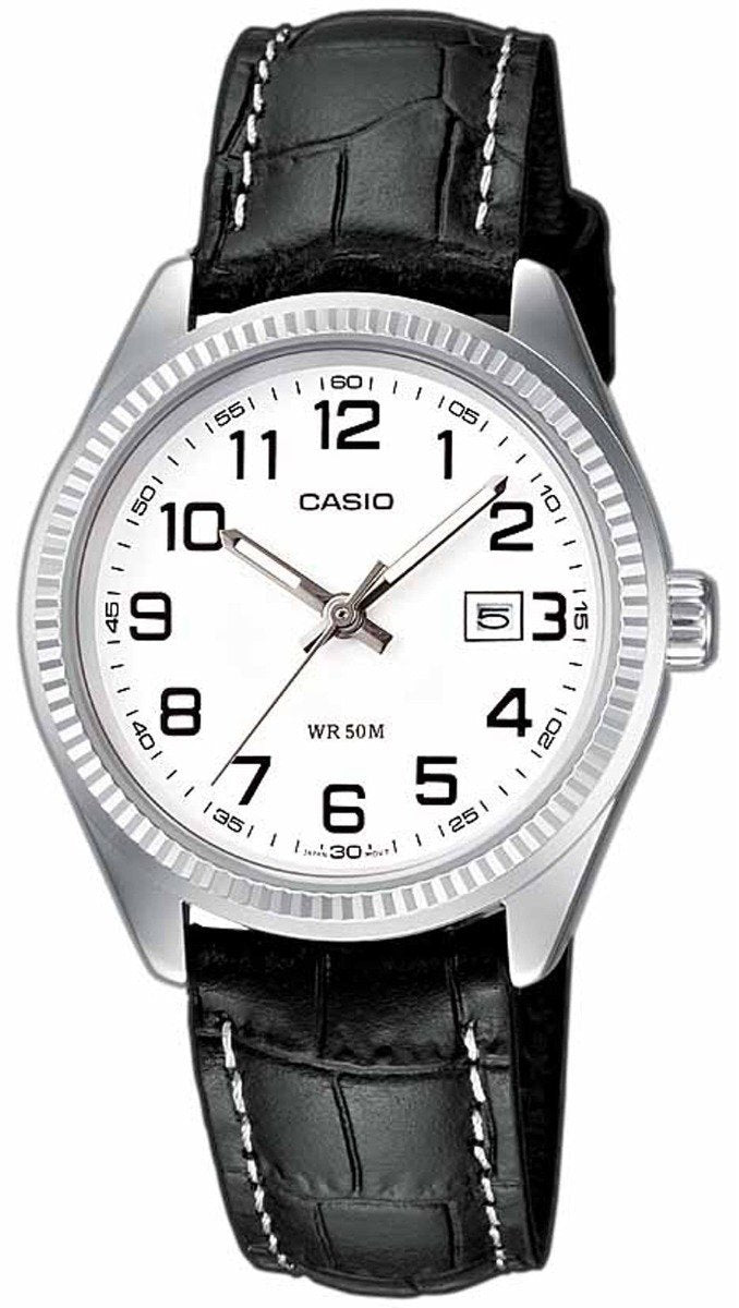 CASIO LTP-1302PL-7BVEF Lady's Black Leather Strap - Κοσμηματοπωλείο Goldy
