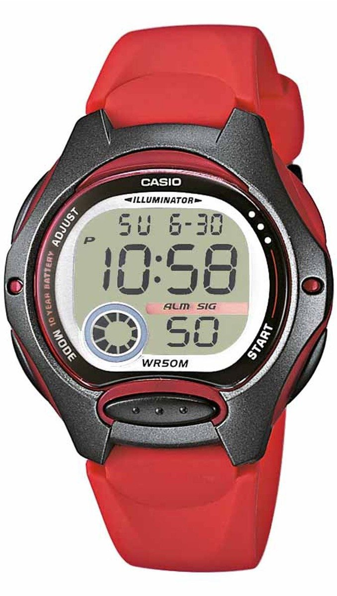 CASIO LW-200-4AVEG Collection Digital Red Rubber Strap - Goldy Jewelry
