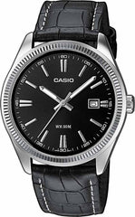 CASIO MTP-1302PL-1AVEF Men's Black Leather Strap - Κοσμηματοπωλείο Goldy