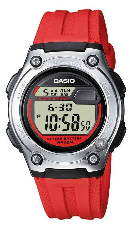 CASIO W-211-4AVES Digital Red Rubber Strap - Goldy Jewelry