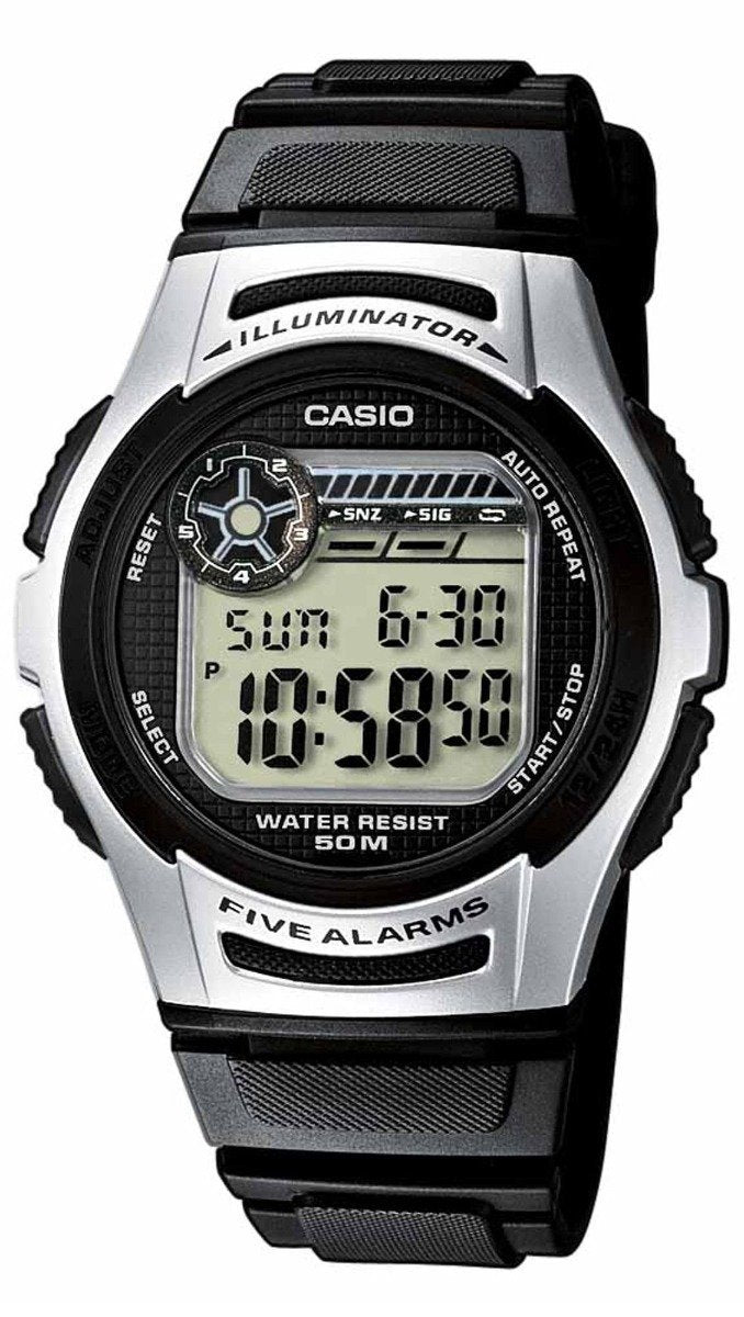 CASIO W-213-1AVEF Digital Black Rubber Strap - Κοσμηματοπωλείο Goldy