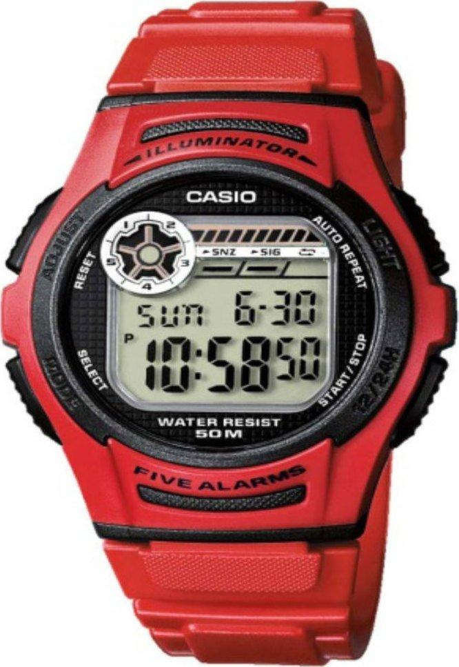 CASIO W-213-4AVE Digital Red Rubber Strap - Goldy Jewelry