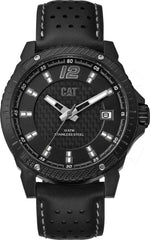 CATERPILLAR CB16134135 Carbon Blade Black Leather Strap - Goldy Jewelry
