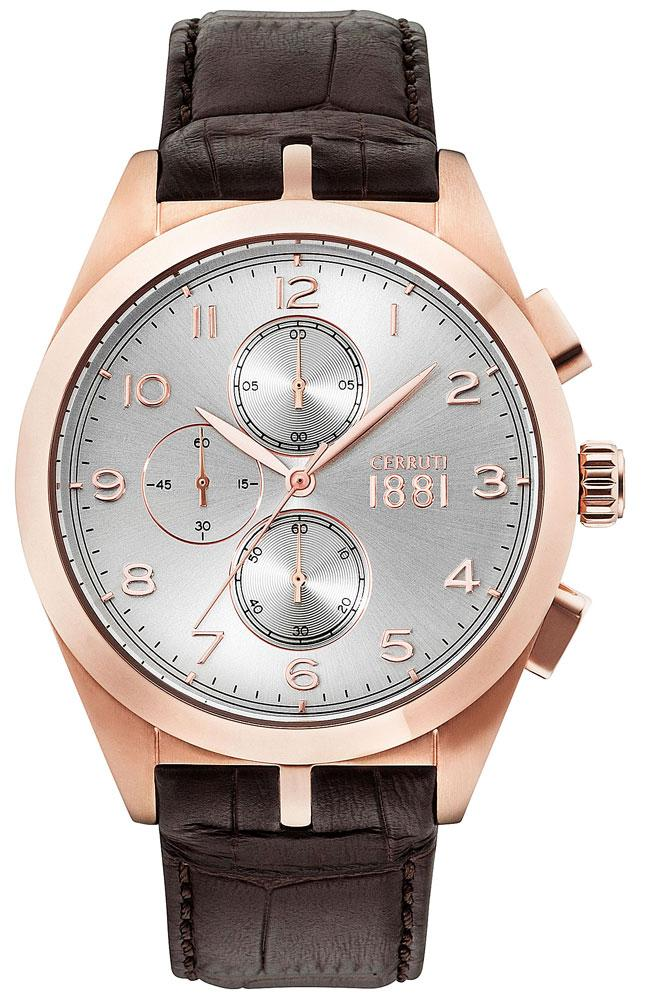 Cerruti CRA149SR04DB Veliero Chronograph Brown Leather Strap - Κοσμηματοπωλείο Goldy