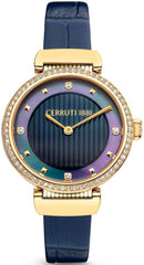 Cerruti CRM29106 Maira Crystals Gold Blue Leather Strap - Κοσμηματοπωλείο Goldy