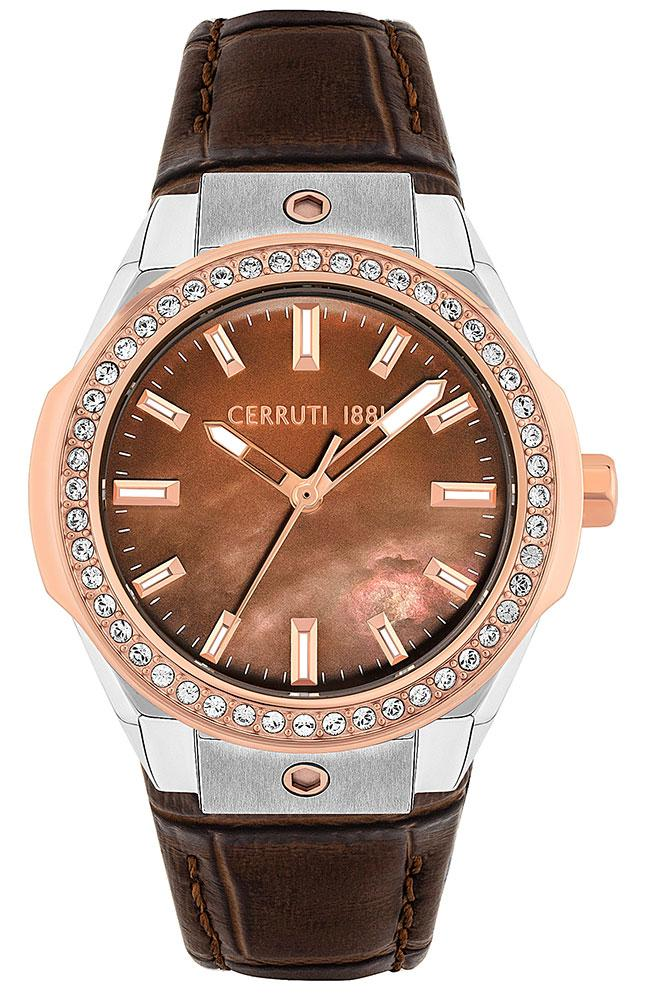 Cerruti CRM29401 Ruscello Crystals Brown Leather Strap - Κοσμηματοπωλείο Goldy
