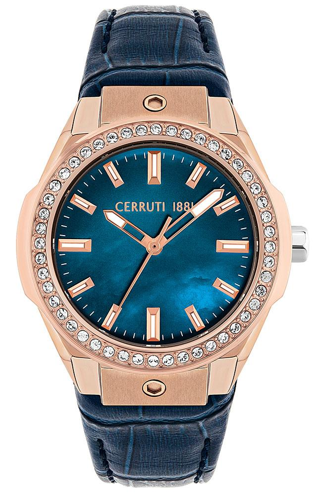 Cerruti CRM29402 Ruscello Crystals Blue Leather Strap - Jewelry Goldy