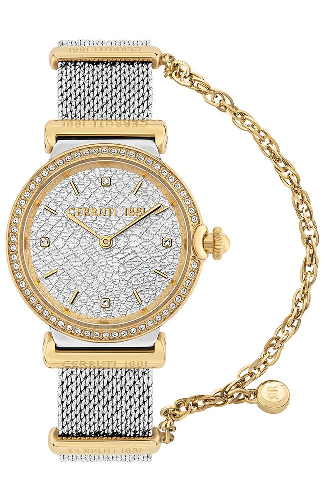 Cerruti CRM29704 Corniglia Crystals Two Tone Stainless Steel Bracelet - Goldy Jewelry Store