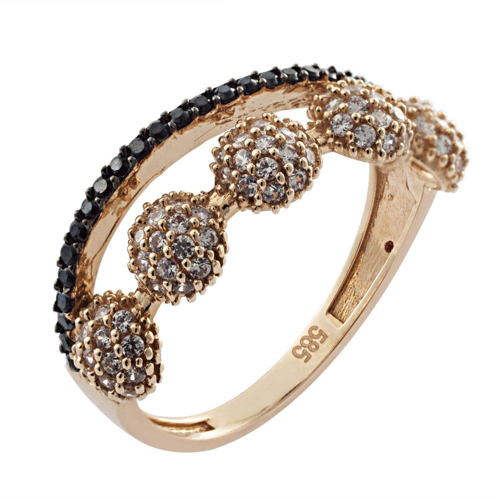 G70014 Ring in Pink Gold K14 with Zircon - Goldy Jewelry Store