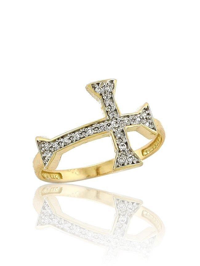 Ring with Cross RN11108 Gold with Zircon K9 - Goldy Jewelry Store