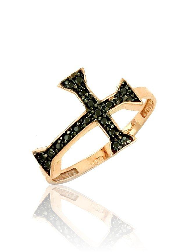 Ring with Cross RN11151 Rose Gold with Black Zircon K9 - Goldy Jewelry Store