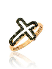 Ring with Cross RN11152 in Rose Gold with Black Zircon K9 - Goldy Jewelry Store