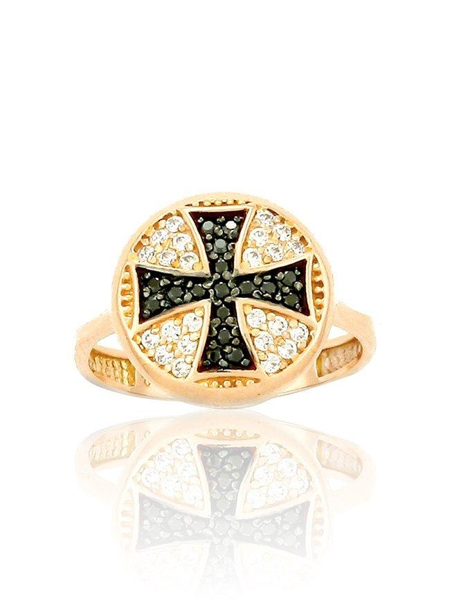 Cross Ring RN11150 Rose Gold with Black Zircon K9 - Goldy Jewelry Store