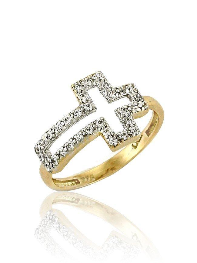 Gold Ring RN11101 With Cross and Zircon K9 - Goldy Jewelry Store
