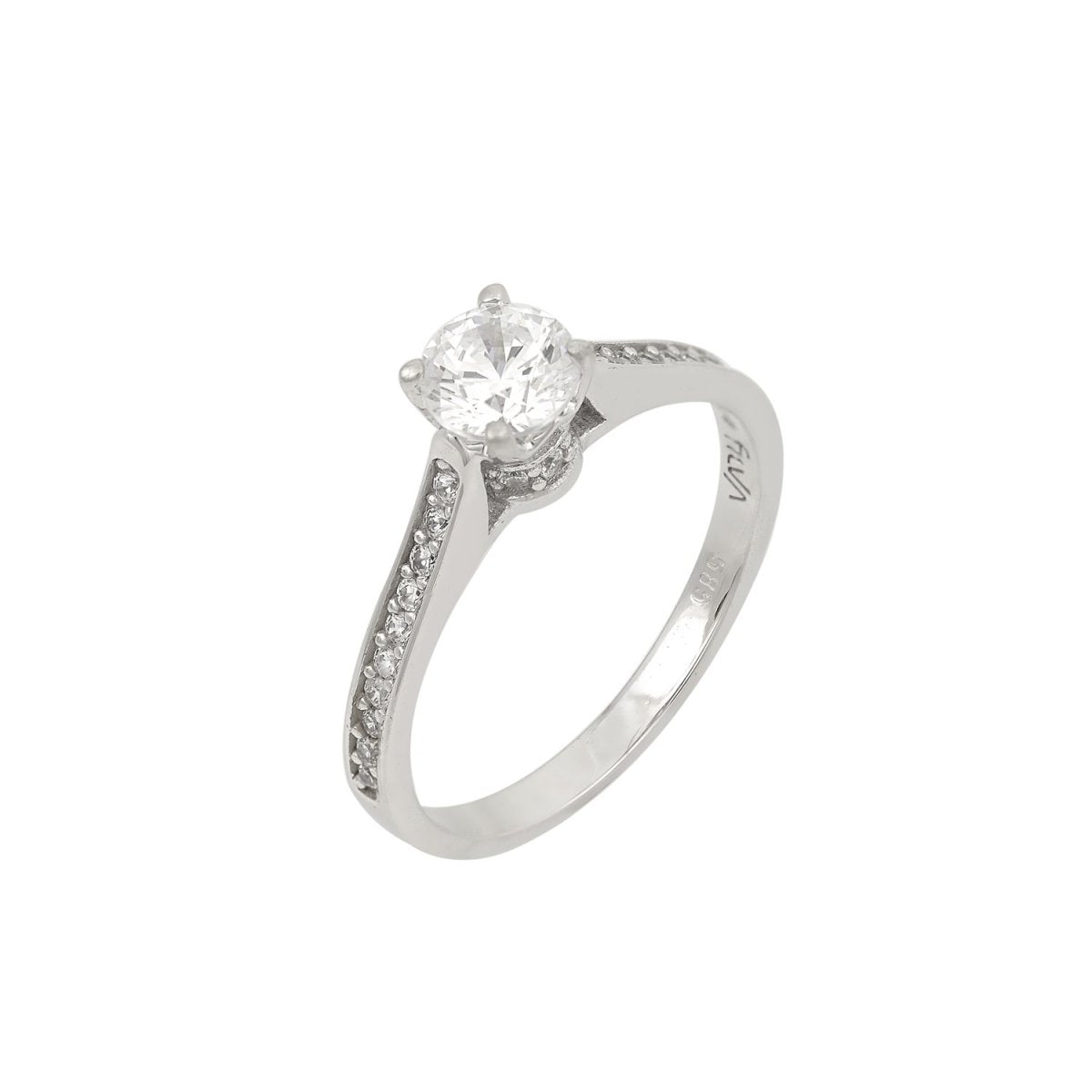 Single Stone Ring M7114 White Gold 14ct - Goldy Jewelry Store
