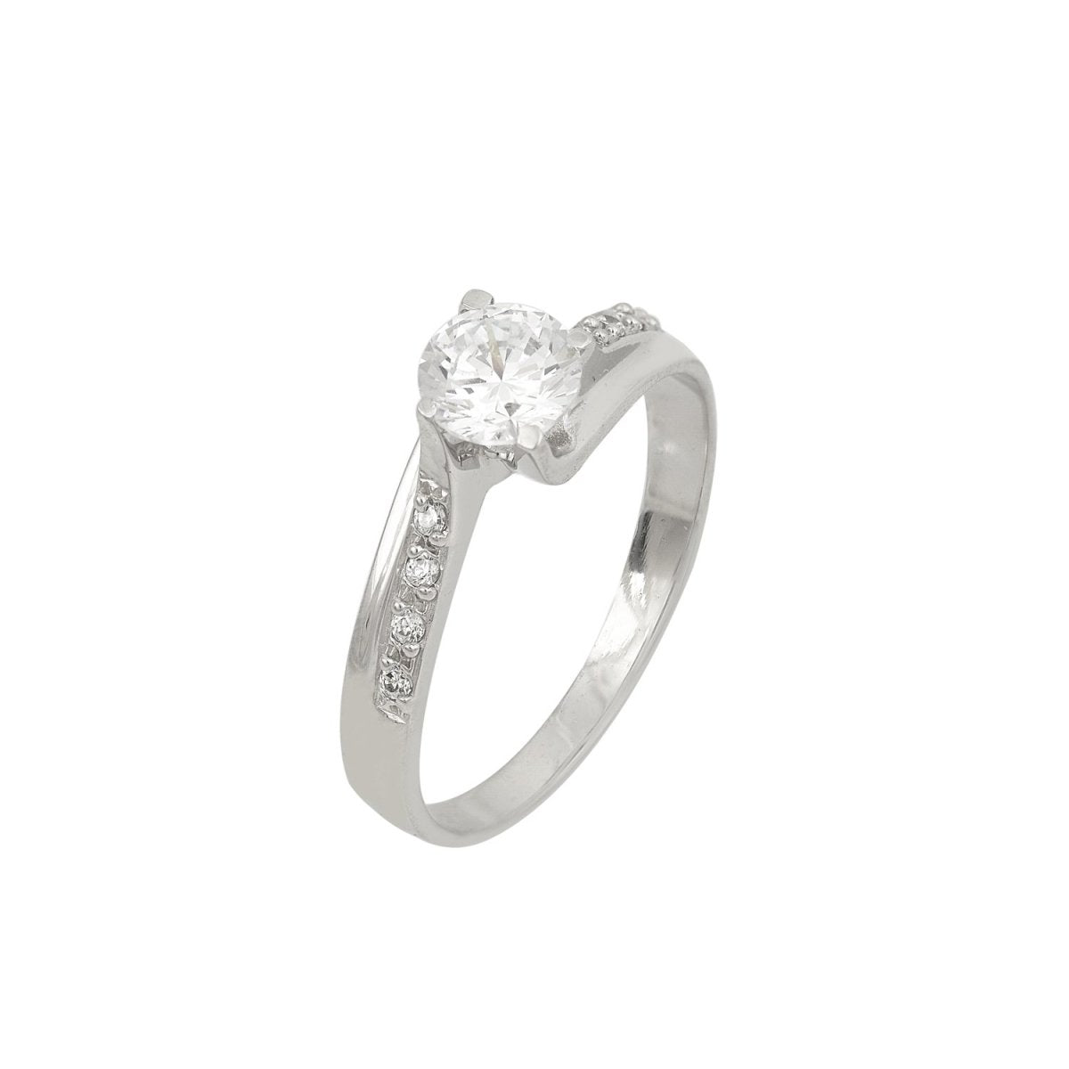 Single Stone Ring M7121 White Gold 14ct - Goldy Jewelry Store