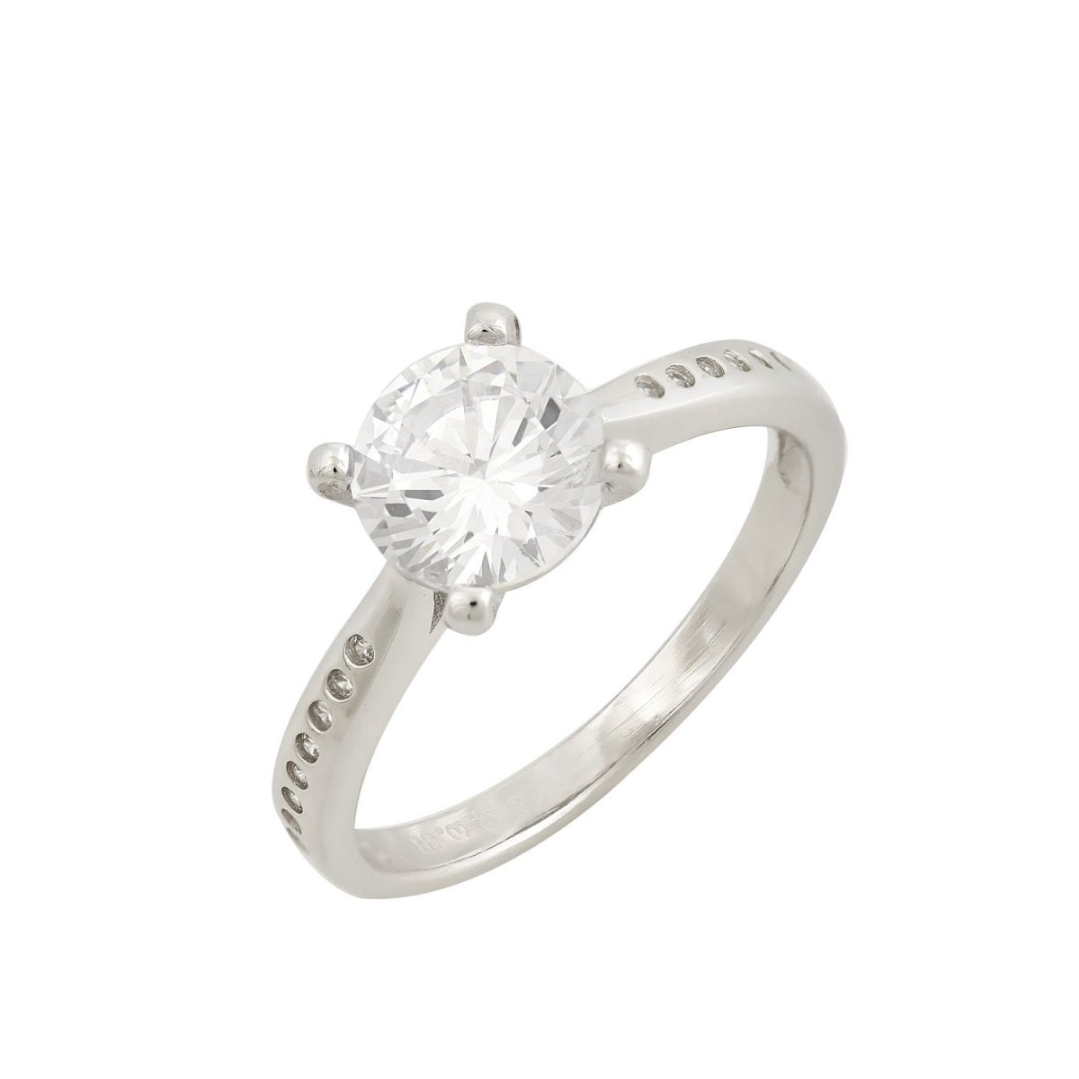Single Stone Ring RS3546 Platinum Plating - Goldy Jewelry Store