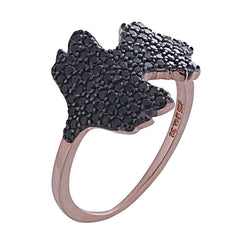 RS2862R Ring With Gold Plated Silver and Black Zircon - Goldy Jewelry Store