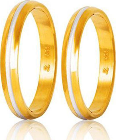 Bicolor Wedding Rings S48-2 Stergiadis - Goldy Jewelry Store