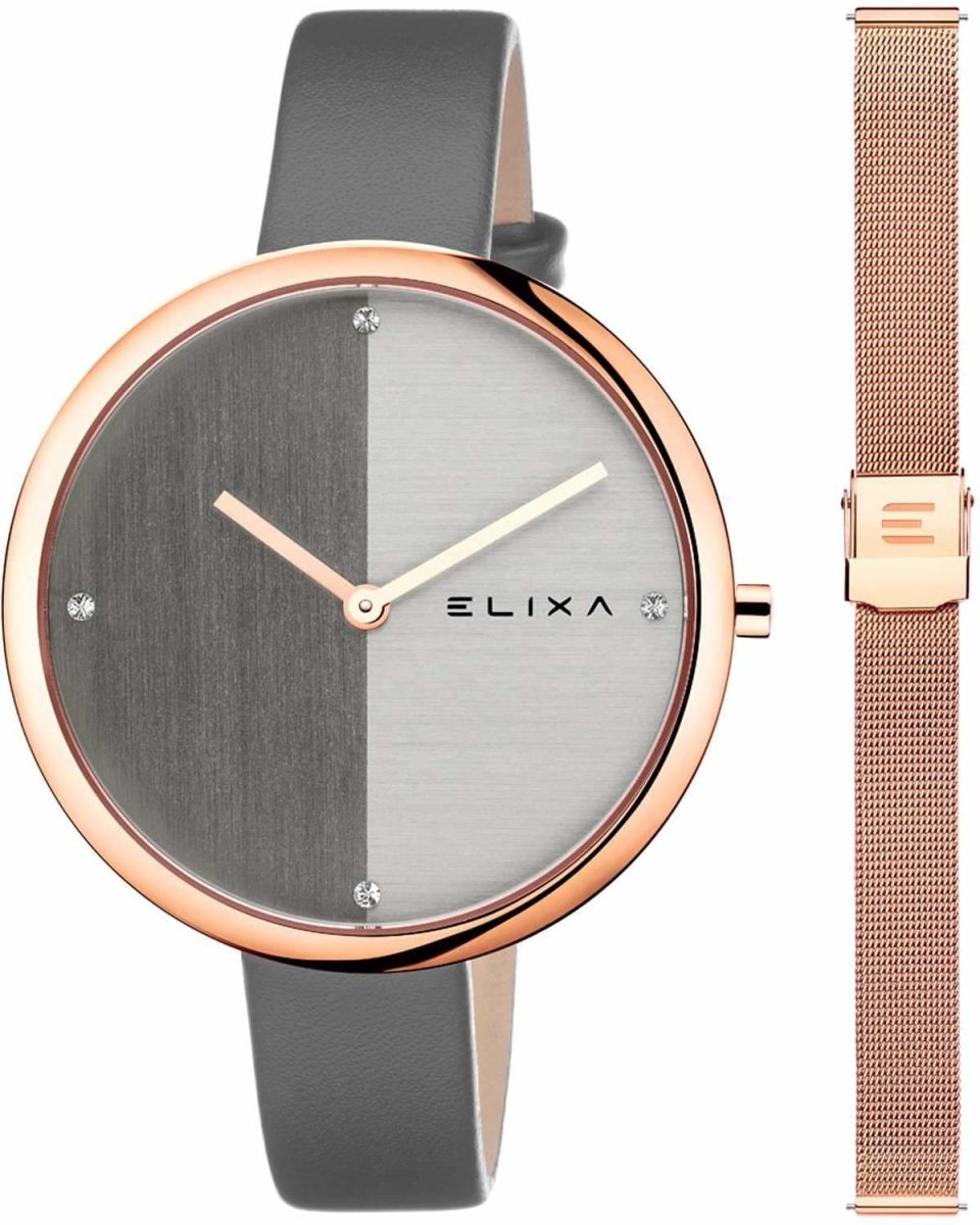 ELIXA E106-L616-K1 Beauty Crystals Gray Leather Strap Gift Set - Jewelry Goldy
