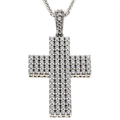 Facad'oro CR-R-018 White Gold Baptismal Cross 14ct - Goldy Jewelry