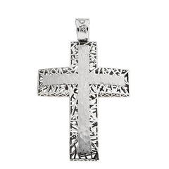Facad'oro CR-R-04W White Gold Baptismal Cross 14ct - Goldy Jewelry Store