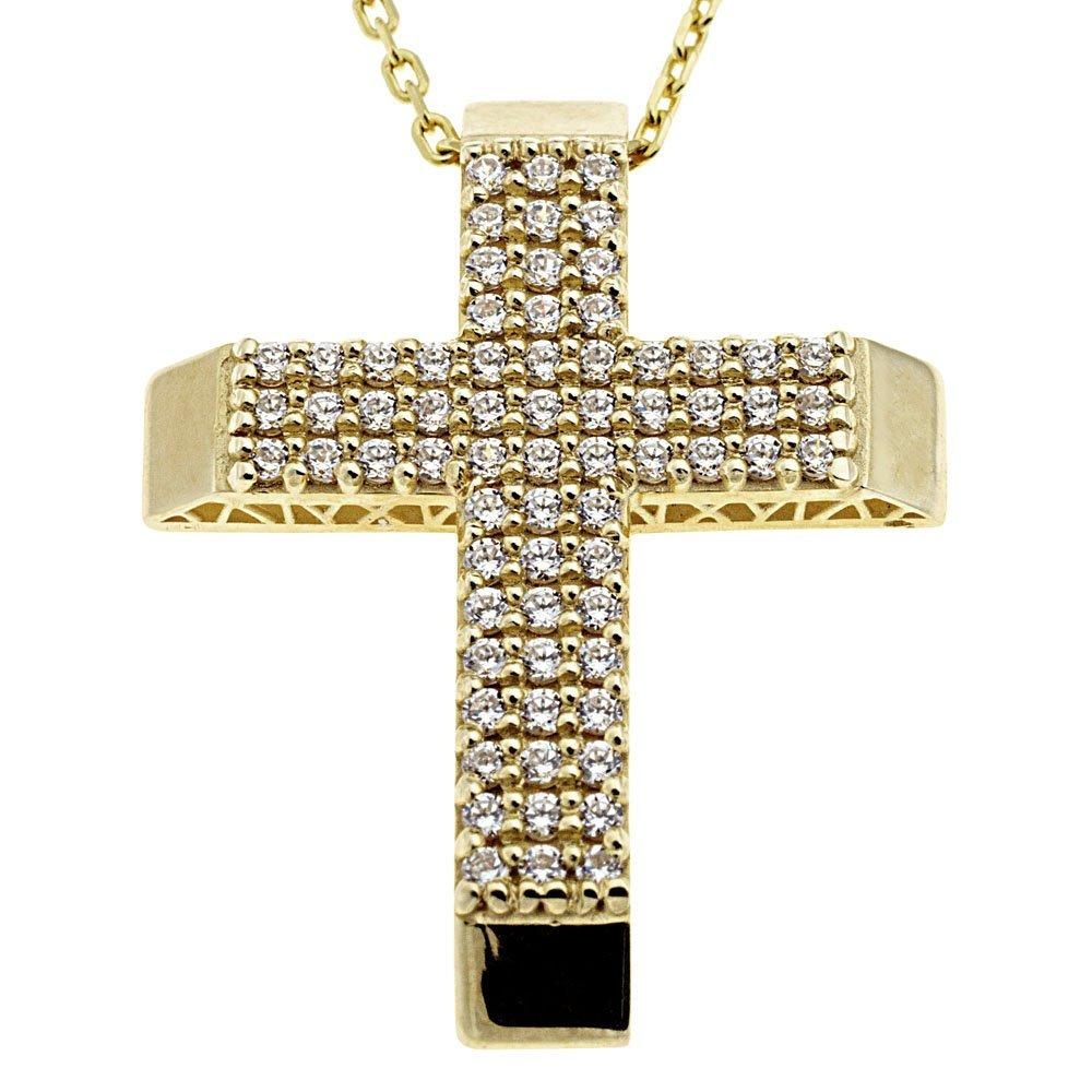 Facad'oro CR-R027 14ct Gold Baptismal Cross - Goldy Jewelry Store