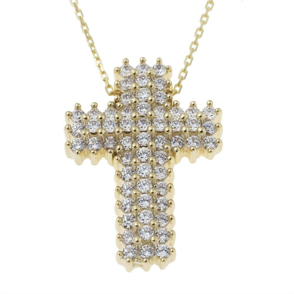 Facad'oro STA176 14ct Gold Baptismal Cross - Goldy Jewelry Store