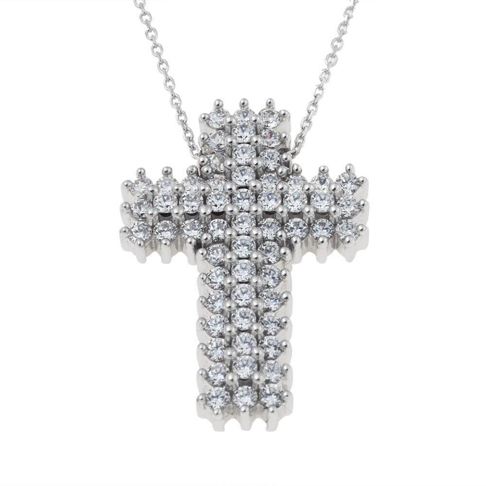 Facad'oro STA176W White Gold Baptismal Cross 14ct - Goldy Jewelry