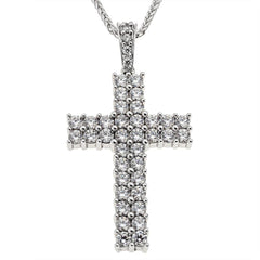 Facad'oro STA248 14ct White Gold Baptismal Cross - Goldy Jewelry Store