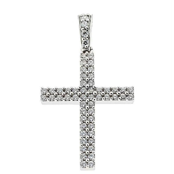 Facad'oro STA462A-W White Gold Women's Cross 14ct - Goldy Jewelry Store