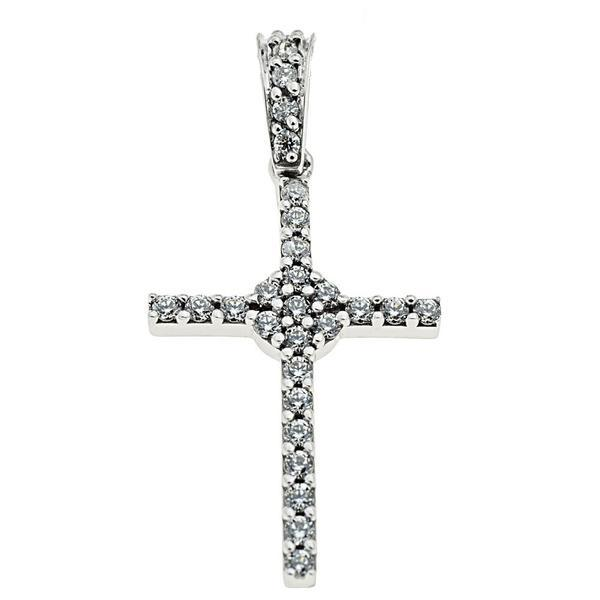 Facad'oro STA465A White Gold Women's Cross 14ct - Goldy Jewelry