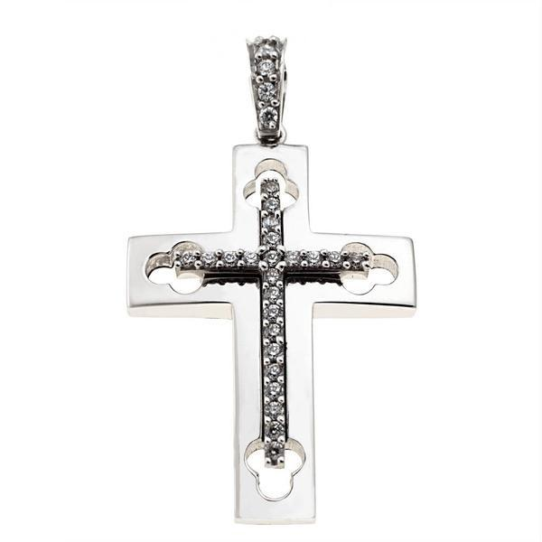 Facad'oro STA468 14ct White Gold Baptismal Cross - Goldy Jewelry Store