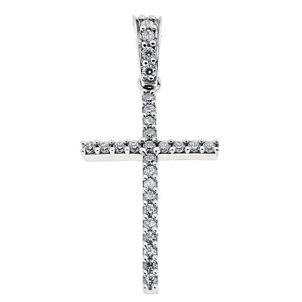 Facad'oro STA468W-A White Gold Women's Cross 14ct - Goldy Jewelry Store