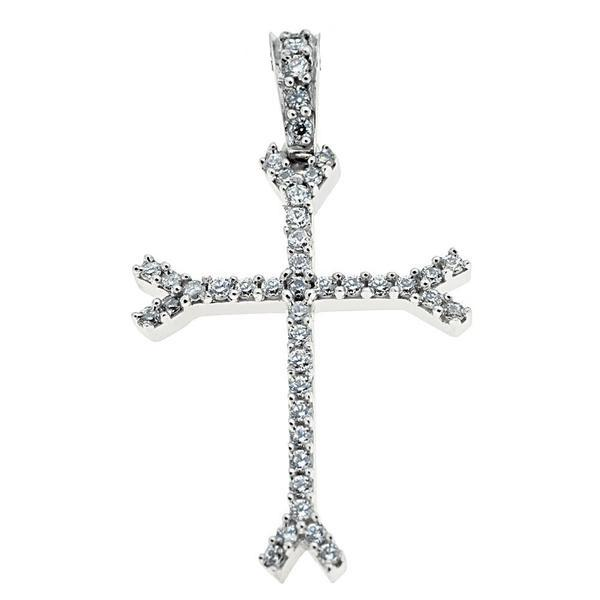 Facad'oro STA488A-W White Gold Women's Cross 14ct - Goldy Jewelry Store