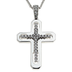 Facad'oro STA506W White Gold Baptismal Cross 14ct - Goldy Jewelry Store