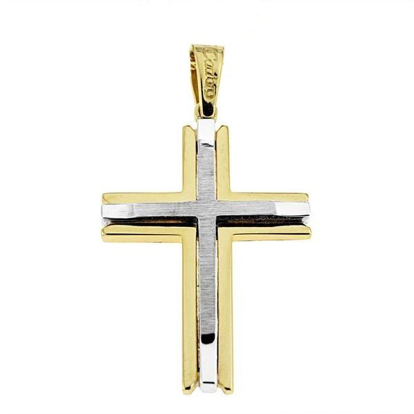 Facad'oro STA528 14ct Gold Baptism Cross - Goldy Jewelry Store