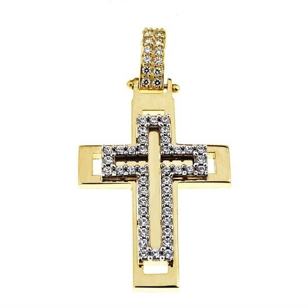 Facad'oro STA543 14ct Gold Baptism Cross - Goldy Jewelry Store