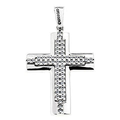 Facad'oro STA620W White Gold Baptismal Cross 9ct - Goldy Jewelry