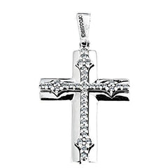 Facad'oro STA631W White Gold Baptismal Cross 9ct - Goldy Jewelry