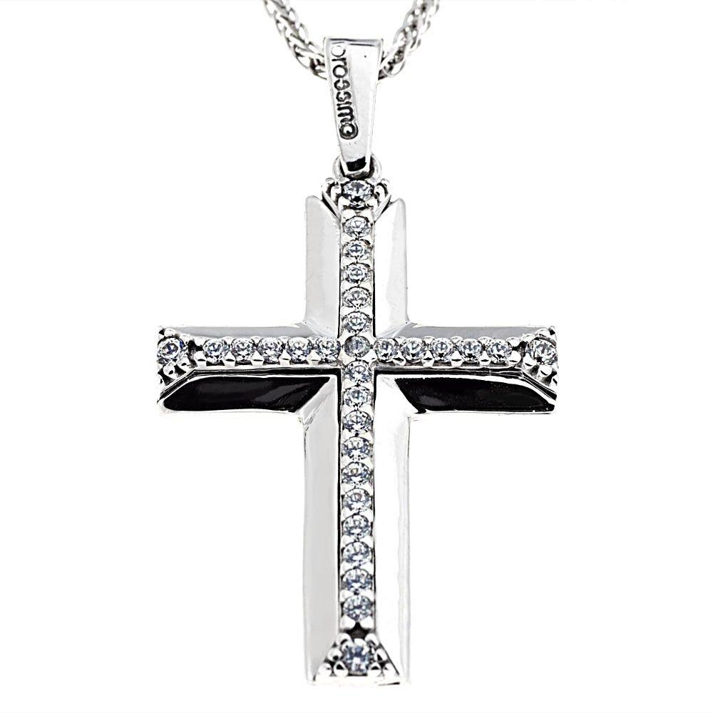 Facad'oro STA634W White Gold Baptismal Cross 9ct - Goldy Jewelry